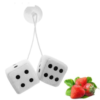 Ароматизатор подвесной кости, кубики, белый, клубника