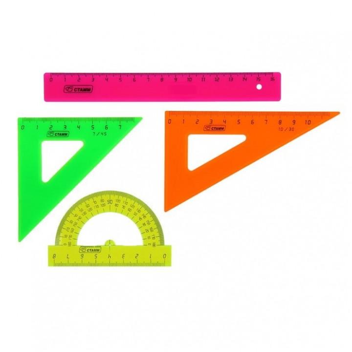 Набор геометрический малый: линейка, 2 треугольника, транспортир