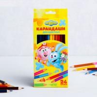 Двухсторонние цветные карандаши 24 цвета, СМЕШАРИКИ
