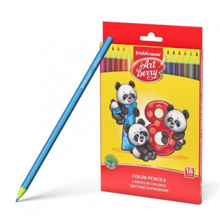 Карандаши 18 цветов, ArtBerry Wood Free, шестигранные, пластиковые