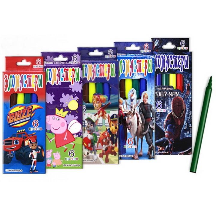 Цветные фломастеры в упаковке  с европодвесом 6 штук