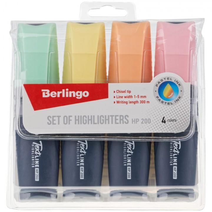 """Набор текстовыделителей Berlingo """"Textline HP200"""", 4цв., пастельные цвета, 1-5мм"""