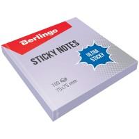 """Самоклеящийся блок Berlingo """"Ultra Sticky"""", 75*75мм, 100л, пастель, фиолетовый"""
