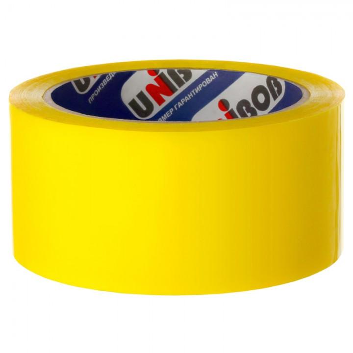 Клейкая лента упаковочная Unibob, 48мм*66м, 45мкм, желтая