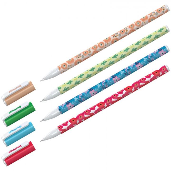 """Ручка шариковая Berlingo """"Funline. Flowers"""", синяя"""