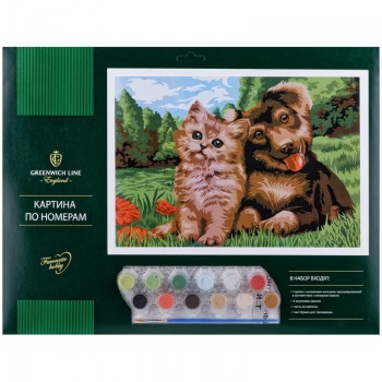 """Картина по номерам Greenwich Line """"Пушистые друзья"""" A3, с акриловыми красками"""