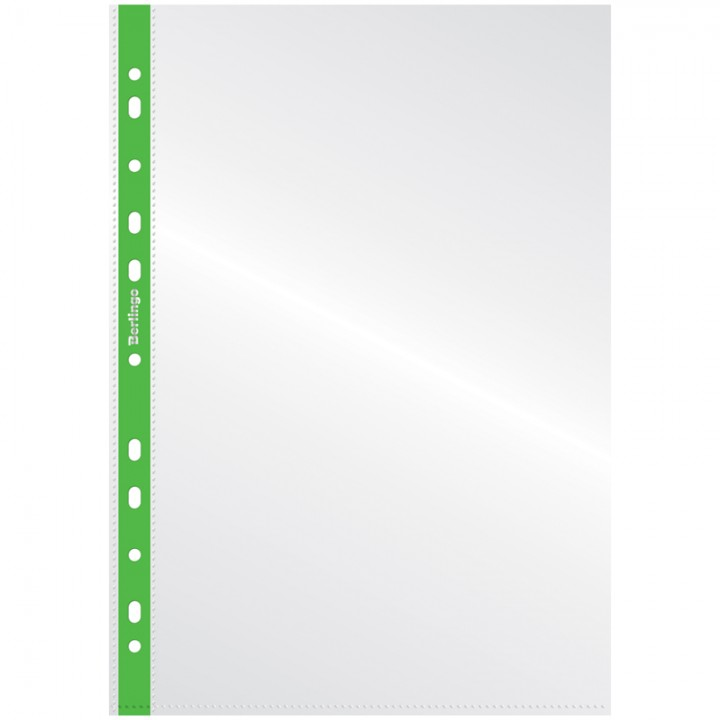 Папка-вкладыш с цветным корешком Berlingo, А4, 30мкм, глянцевая, зеленая (набор 20 шт.)