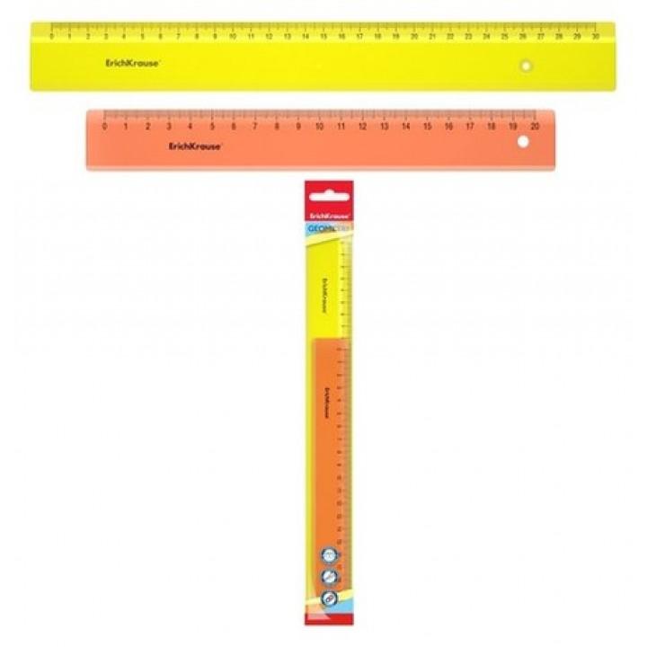 Набор из 2 линеек ErichKrause Neon; 20см и 30 см, желтый и оранжевый