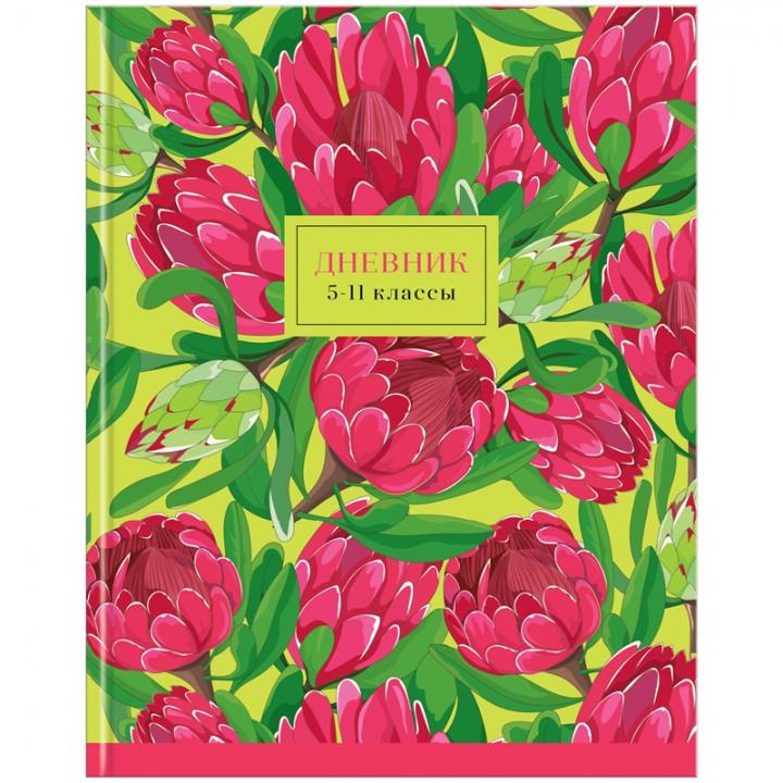 """Дневник 5-11 кл. 48л. (твердый) """"Цветы. Protea"""""""