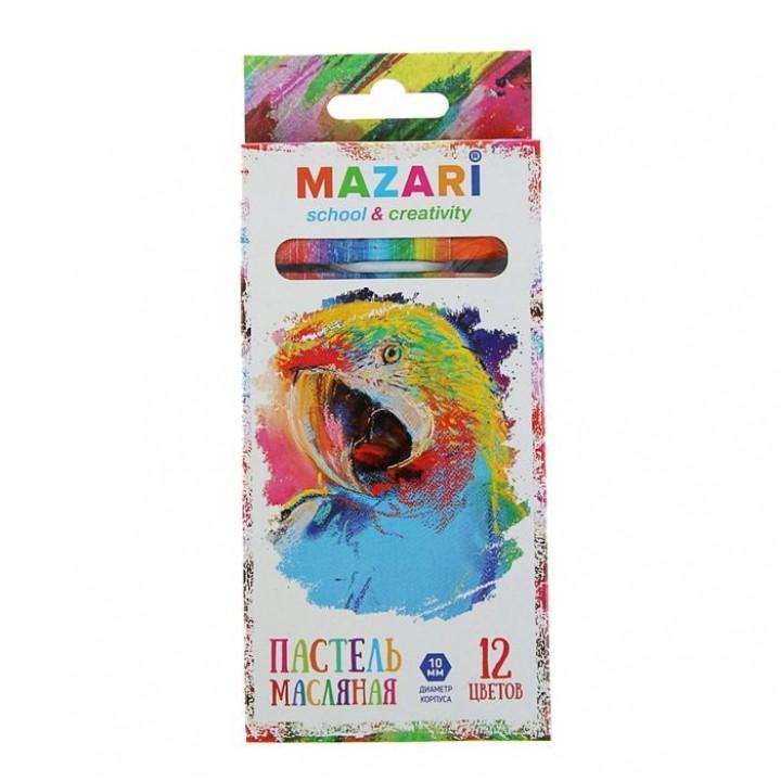 Пастель масляная 12 цветов MAZARI Safari, шестигранная