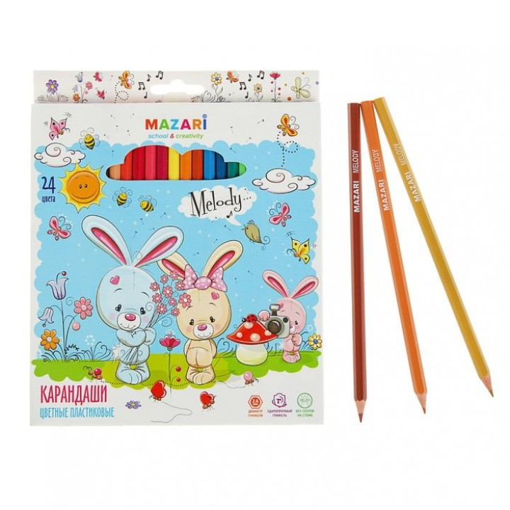 Карандаши 24 цвета Melody, пластиковые, шестигранный корпус