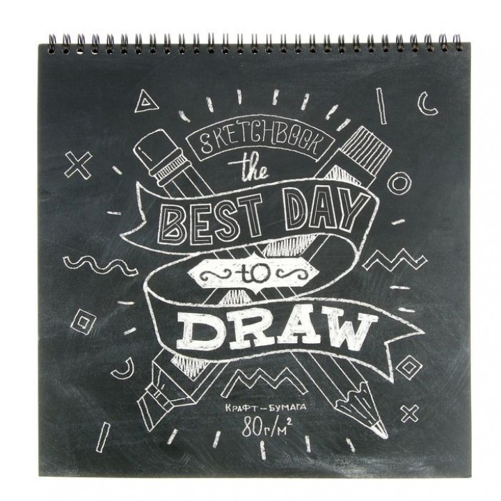 Блокнот для зарисовок 25x25 см, 60 листов на гребне Sketchbook, крафтовая бумага 80 г/м²