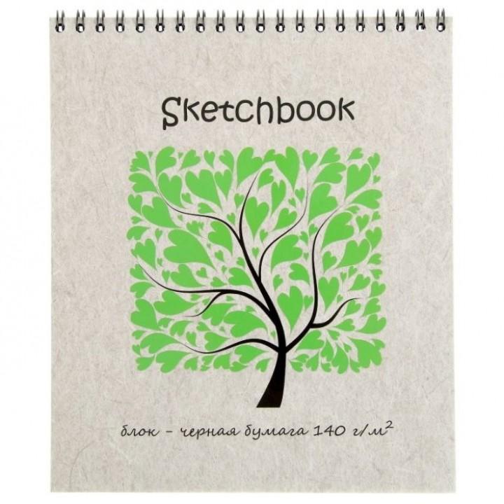 Альбом для зарисовок А5+, 20 листов на гребне Sketchbook Black, чёрная бумага, блок 140 г/м².