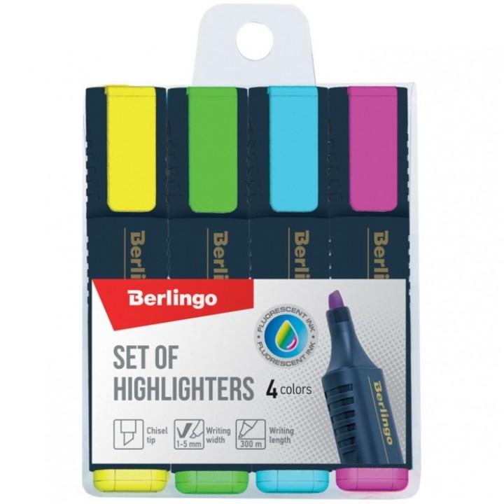 Набор маркеров-текстовыделителей 4 цвета Berlingo