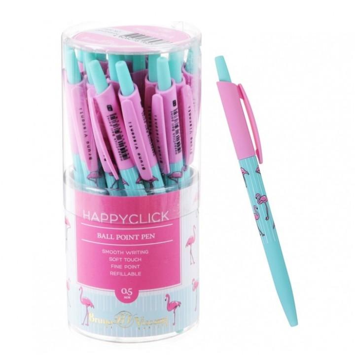 Ручка шариковая автоматическая BrunoVisconti. HappyClick «Фламинго»
