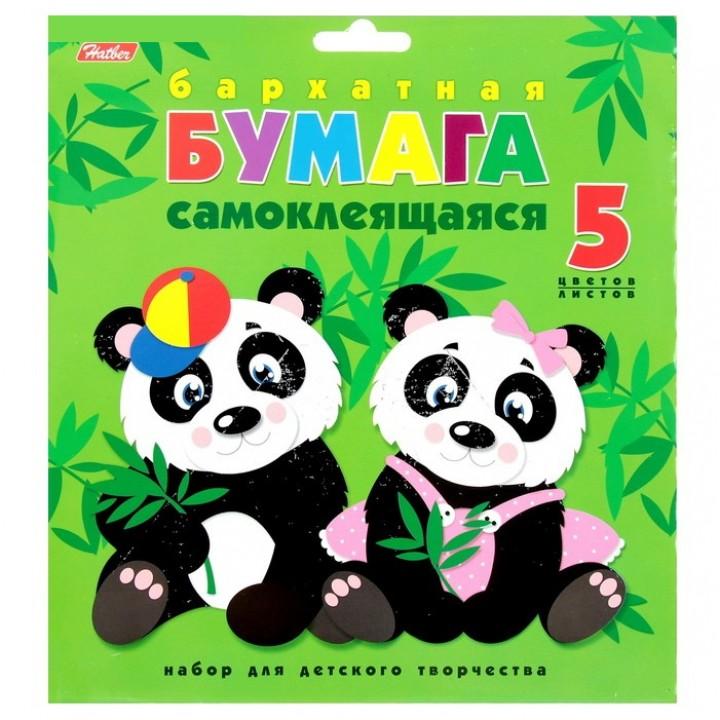 """Бумага цветная бархатная самоклеящаяся А5 """"Две панды"""""""