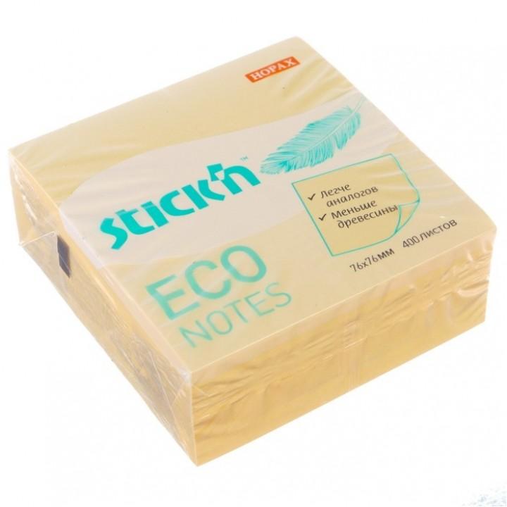 Блок с липким краем Stick`n ECO, 400 листов, жёлтый