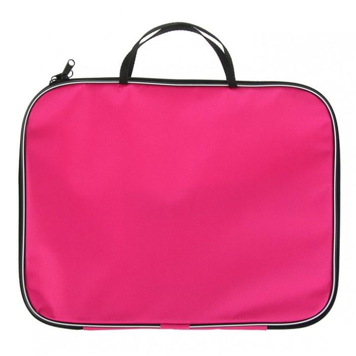 Папка с ручками, текстильная, А4, розовая