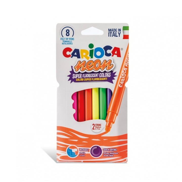 Фломастеры 8 цветов Carioca Neon 1-4.7 мм, неоновые цвета