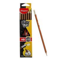 Карандаш чернографитный Maped Black Pep's HB трехграные с ластиком