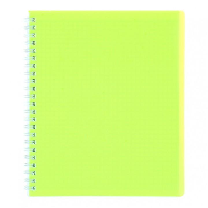 Тетрадь 80 листов клетка на гребне DIAMOND НЕОН пластиковая обложка Желтая