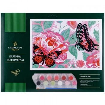 """Картина по номерам Greenwich Line """"Бабочки"""" A3, с акриловыми красками"""