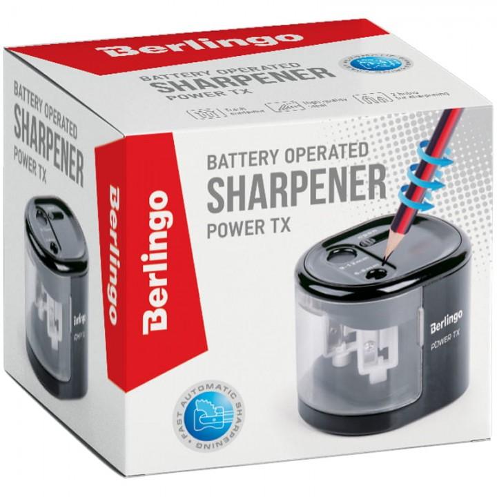 """Точилка электрическая Berlingo """"Power TX"""", черная, 2 отверстия, с контейнером"""