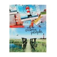Скетчбук А5, 80 листов «Деревянный мост и марки», твёрдая обложка