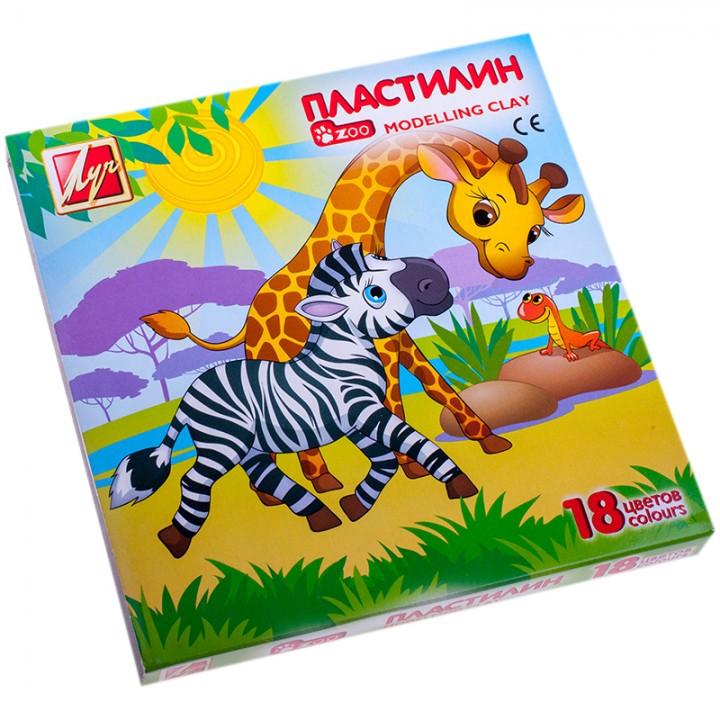 Пластилин 18 цветов зоопарк