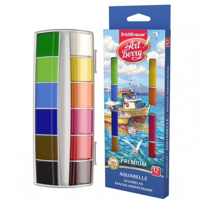Акварель 12 цветов ArtBerry Premium, в пластиковой коробке