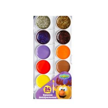 Акварель карамельная с блёстками, СМЕШАРИКИ, 24 цвета