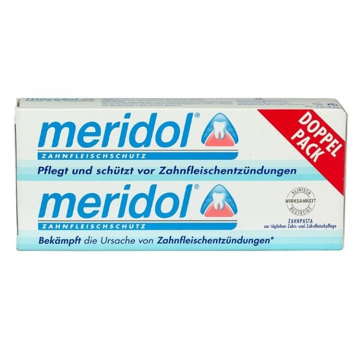 Зубная паста Meridol, уход за зубами и оздоровление десен, двойная упаковка 2х75 мл