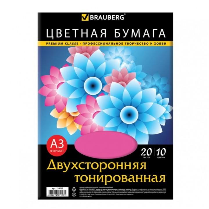 Бумага цветная двухсторонняя А3, 20 листoв, 10 цветов, тонированная