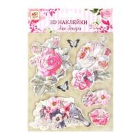"""Наклейка для декора 3D """"Букет из роз"""" с клейкой лентой"""