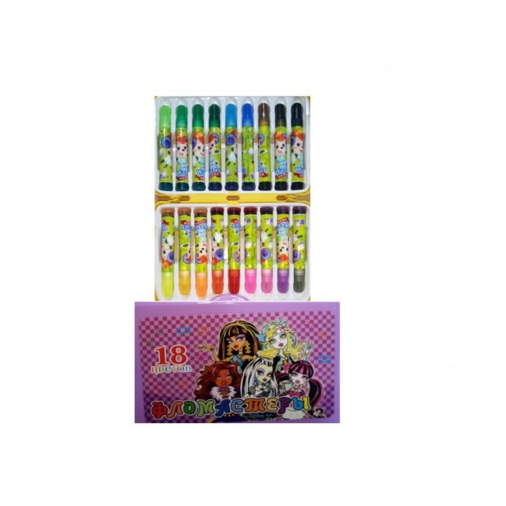Фломастеры детские цветные с печатями, в ярком пластиковом чемоданчике, 18 цветов.
