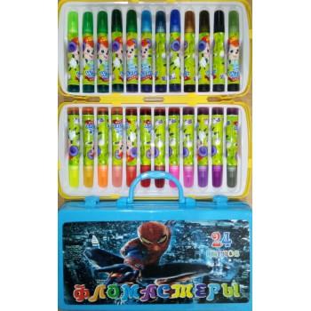 Фломастеры детские цветные с печатями, в ярком пластиковом чемоданчике, 24 цвета.